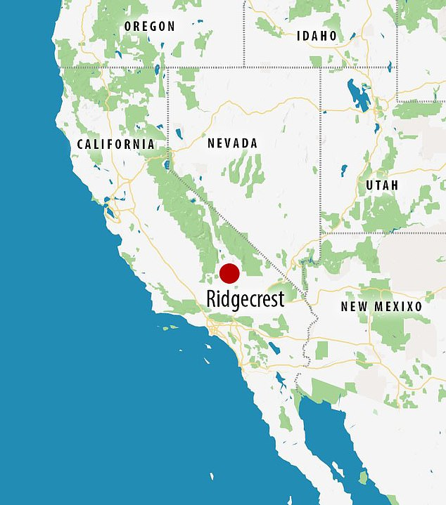 Yesterday's earthquake, a magnitude-6.4, was reportedly felt from Las Vegas to San Diego.Pictured: The epicenter of the earthquake