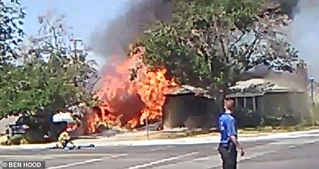 This house in Ridgecrest caught fire after the 6.4-magnitude earthquake in California