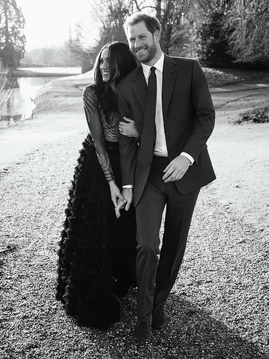 The Duke and Duchess of Sussex made a statement when they released two of the three official engagement photos in black and white, including the one above