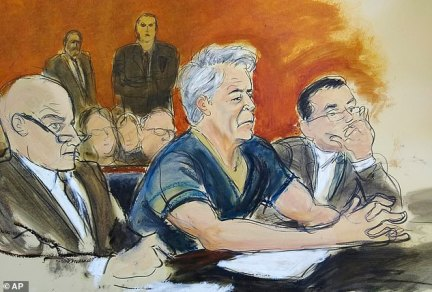 Day in court:Epstein entered a not guilty plea to charges of sex trafficking on Monday in federal court, for his alleged sexual abuse of three minors (l to r:Martin Weinberg, Epstein, andMarc Fernich)