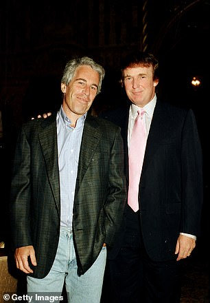 A number of people have been critical of President Trump for not commenting on Epstein's arrest given their once close friendship (above in 1997 at Mar-a-Lago)
