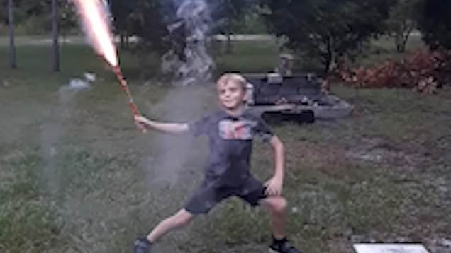 Video Father Lets Son Play With Roman Candle And It Ends