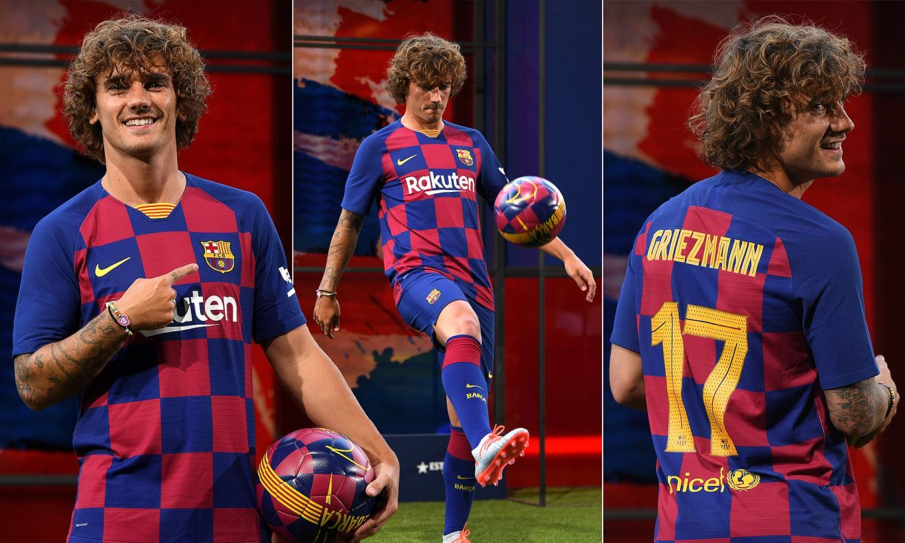 Image result for pictures of Griezmann and Messi on Barcelona Kits