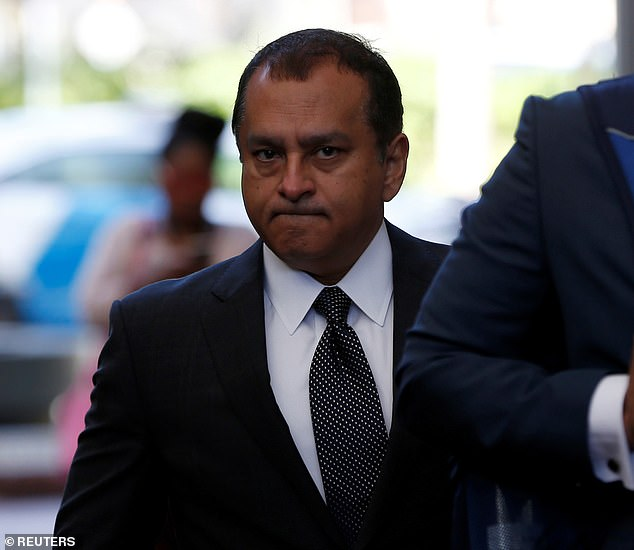 The 35-year-old's ex-boyfriend and co-defendant in the case, Theranos' former Chief Operating Officer Ramesh 'Sunny' Balwani, 54, arrived at the court in San Jose separately