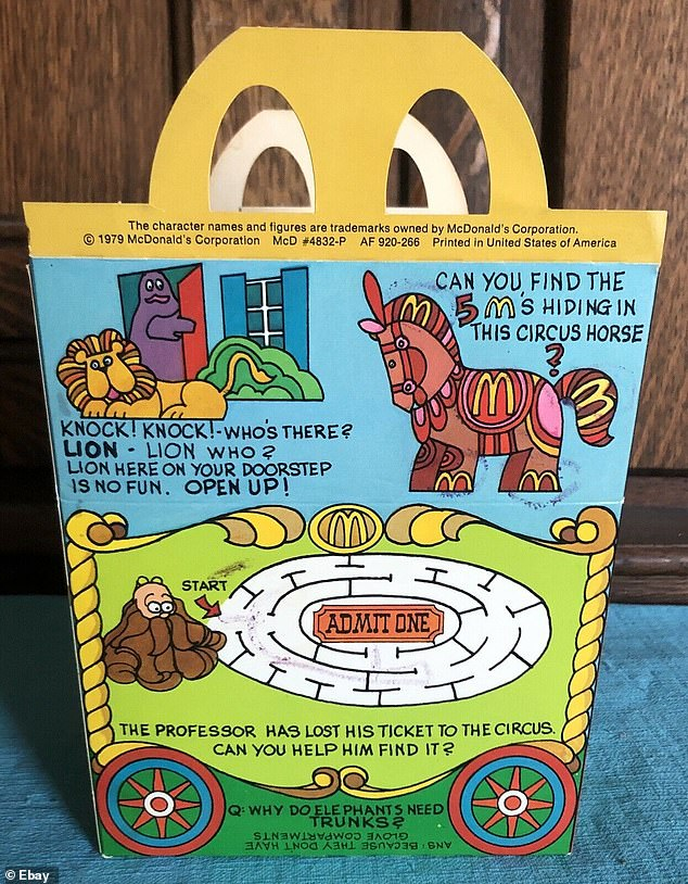 The packaging looks very different; a circus-themed designed adorned the retro version compared to the more stylish plain red packaging today (1979 kids game on Happy Meal pictured)