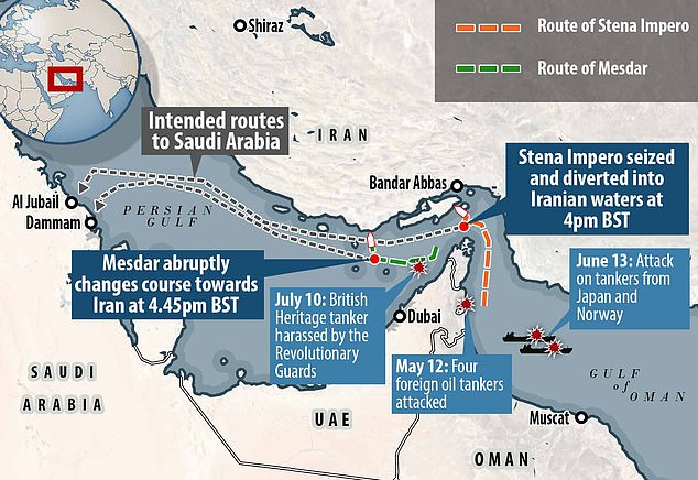 The Stena Impero was surrounded by Iranian Revolutionary Guard forces at 4pm and ordered to head north. The British registered vessel switched off its maritime tracker a short time later. A second British vessel, Medsar, abruptly changed course towards Iran around 4.45pm