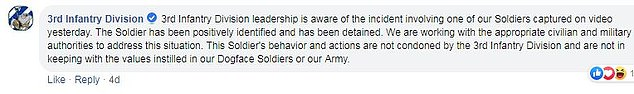 The 3rd Infantry Division released a statement condemning the soldiers behavior