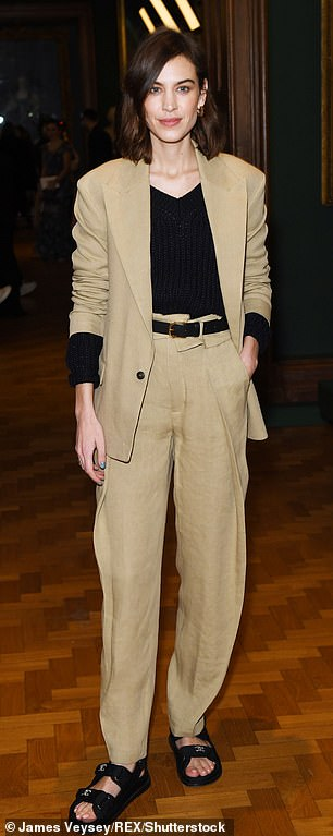 Alexa Chung in the front row Erdem show, Front Row, Fall Winter 2019, London Fashion Week, UK - 18 Feb 2019