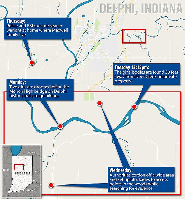 A map showing the investigation into the girls' disappearance and boy recovery