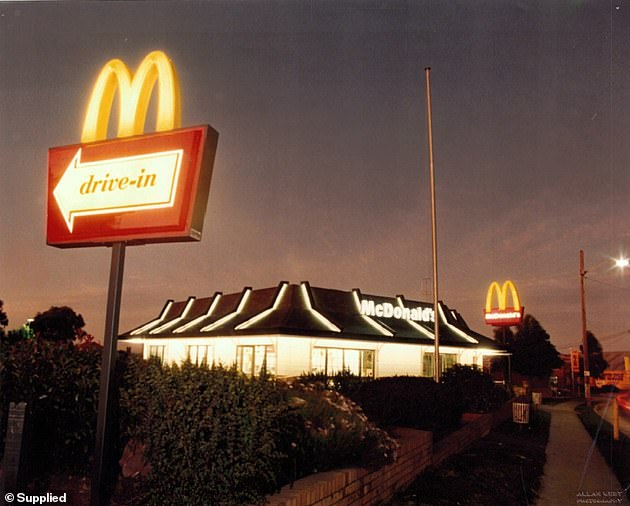 At night, the McDonald's could be seen from afar with its iconic neon 'drive-in' sign and strip-lit roof
