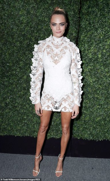 Cara Delevingne stuns in sheer embroidered mini dress