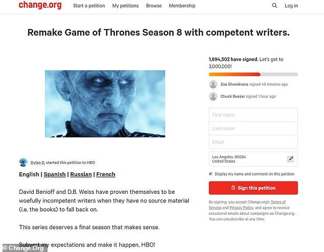 Not happy:Despite a remarkable 32 Emmy nominations, the final season of the epic fantasy series was overwhelmingly panned by fans, who banded together to ask for a redo