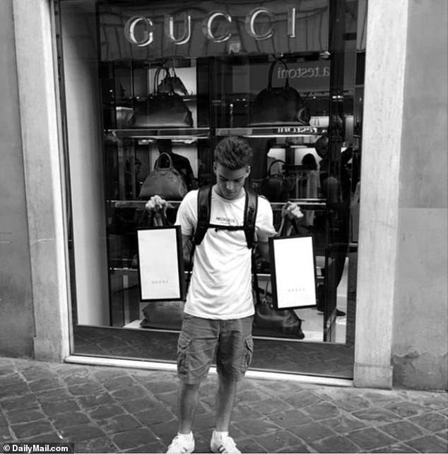 This social media photo shows Natale-Hjorth flaunting his wealth outside the Gucci Shop in Rome just days before being arrested for the stabbing death of an Italian officer