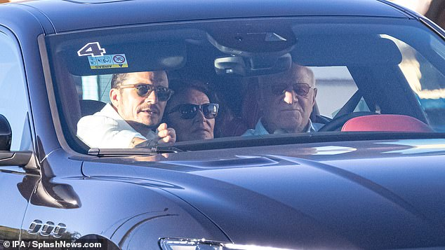 Orlando Bloom, Diane Von Furstenberg, Barry Diller,owner of Tripadvisor and Expedia, arriving at the seventh annual Google Camp
