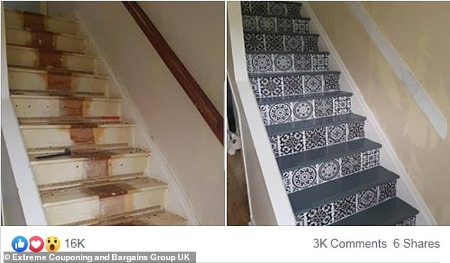 Diy Mum Reveals How She Totally Transformed Her Staircase With £65   Stick On Carpet For Stairs   Rugs   Flooring   Carpet Tiles   Stair Runner   Anti Slip