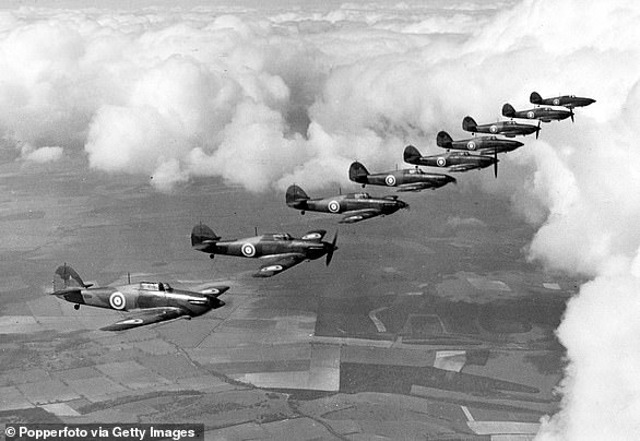 Hawker Hurricane planes from No 111 Squadron RAF based at Northolt in flight formation, circa 1940
