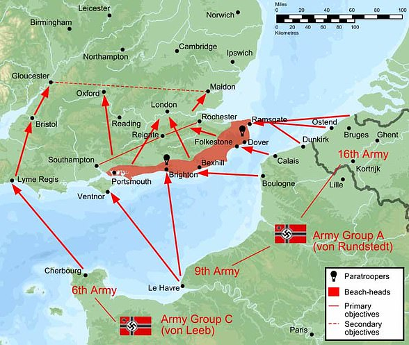 Pictured: German plans to invade Britain, if naval and air superiority was achieved