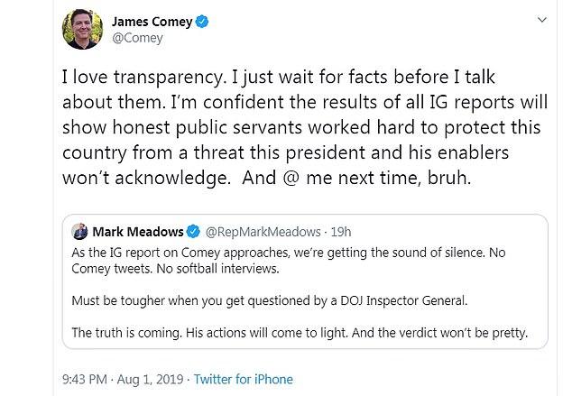 James Comey claps back at GOP congressman over DOJ comments - Angle News