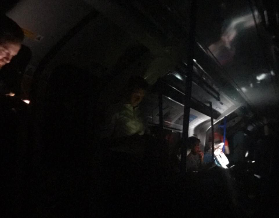 Tube passengers have been thrown into darkness on the Victoria Line, after a power cut hit large parts of the UK yesterday