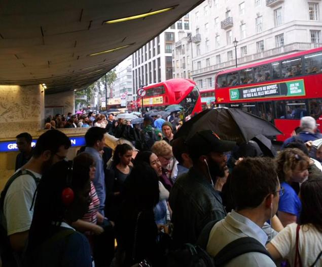 The Victoria Line has been closed following the power outage, with commuters pictured flooding out of the line