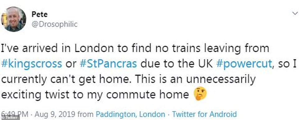 People have been taking to Twitter to complain about the power outages (above and below), which caused delays of up to two hours for some commuters