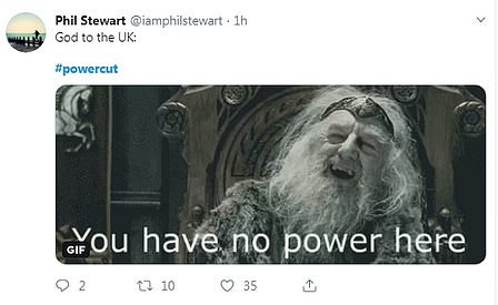 There was no shortage of Lord of The Rings memes either, with one person sharing a picture of King Theoden uttering the words 'You have no power here!' from the 2002 film