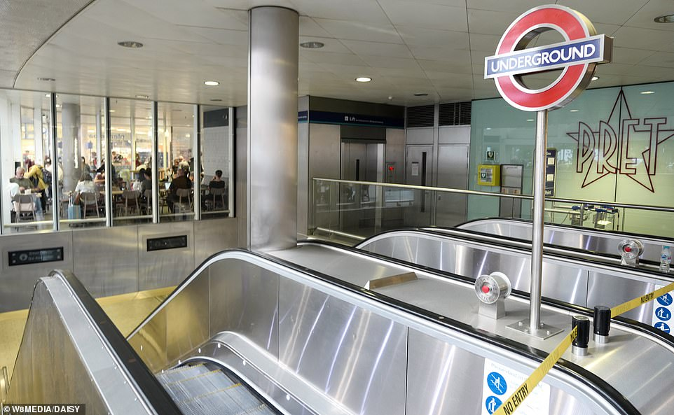 The escalators at King's Cross station stopped working following the power cut and commuters were prevented from entering the station