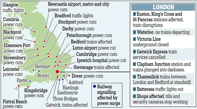 Large swathes of the country were affected by power cuts today including Bristol, Exeter and Newport. The capital was particularly badly affected, with the Victoria Line closed and King's Cross evacuated
