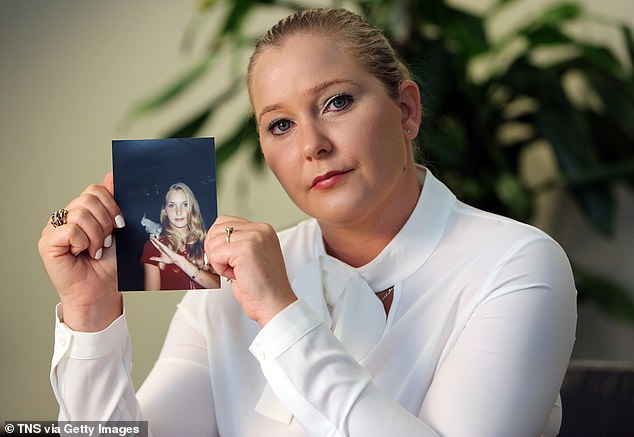 Epstein's shocking suicide comes just 24 hours after court documents from Virginia Roberts Giuffre (pictured) were unsealed. Giuffre claims she was trafficked out by the pair to have sex with a number of high-powered businessmen and politicians