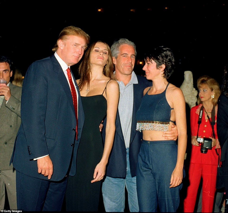 Trump is pictured with then-girlfriend and now-wife Melania Trump alongside Jeffrey Epstein and Ghislaine Maxwell at Mar-a-Lago club in 2000