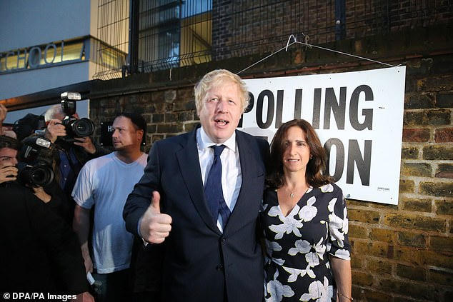 Pictured: Boris Johnson and Marina Wheeler at a polling station at the conclusion of the EU Referendum on June 23 2016