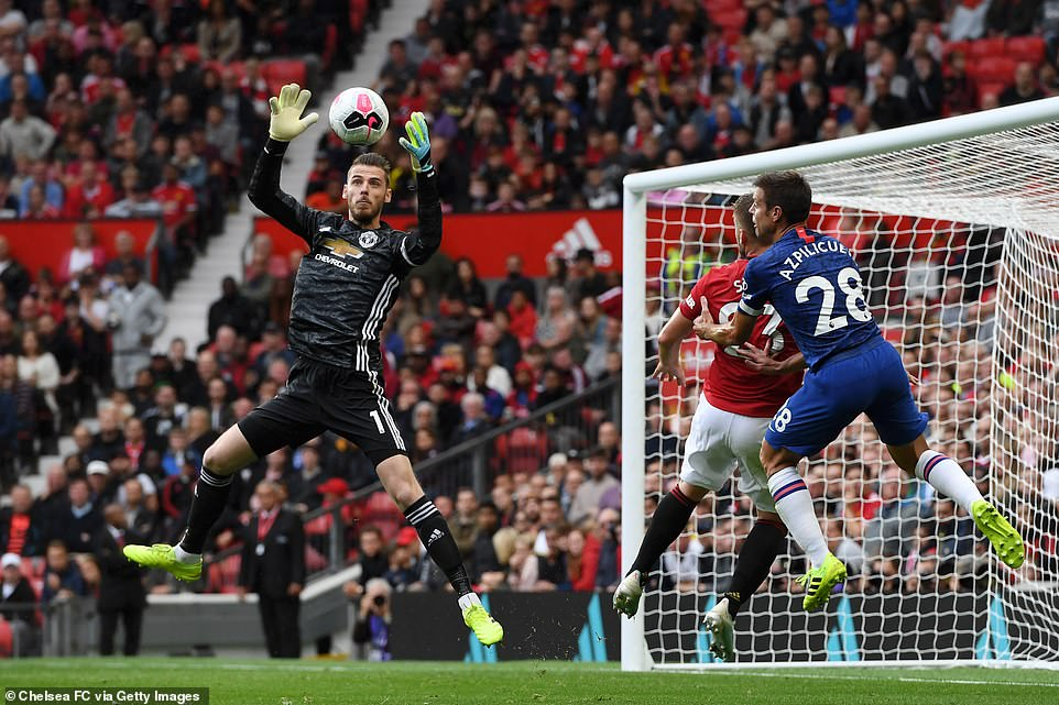 Manchester United goalkeeper de Gea comes off his line to collect the ball and relieve the pressure off his defenders
