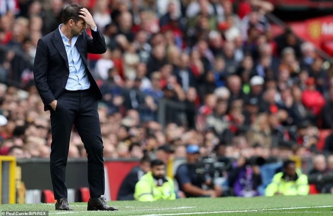 Frank Lampard cut a frustrated figure as he watched his side squander several chances in the first half from the touchline