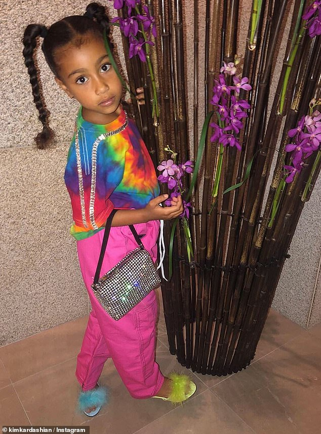Mixing it up: North was feeling the color on this day. She wore a tie dye t-shirt and had her hair in braid pigtails as she posed for a photo by some purple flowers