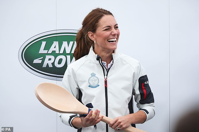 The Duchess of Cambridge was handed a large wooden spoon after finishing in last place in the race