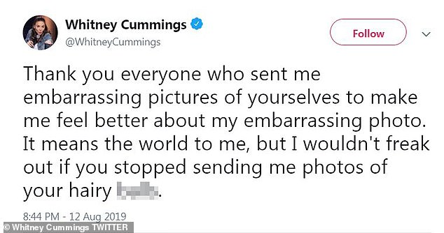 Keeping it light: Cummings seemed to have her trademark sense of humor intact amid being threatened
