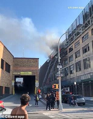 The blaze erupted at 550 Washington Street, the future site of Google's new Manhattan campus
