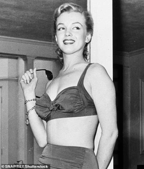 Pin up: The inflatable bra was launched during the era where Marilyn Monroe, pictured left and right, was the reigning icon thanks to her voluptuous figure