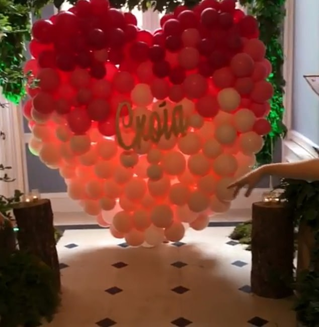 One of the enormous decorations shared on social media was a huge balloon heart with Croia's name in the centre