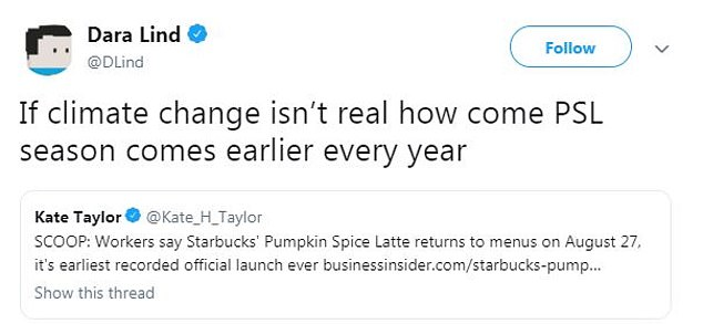 Clever: Someone compared the return of PSL season early to climate change