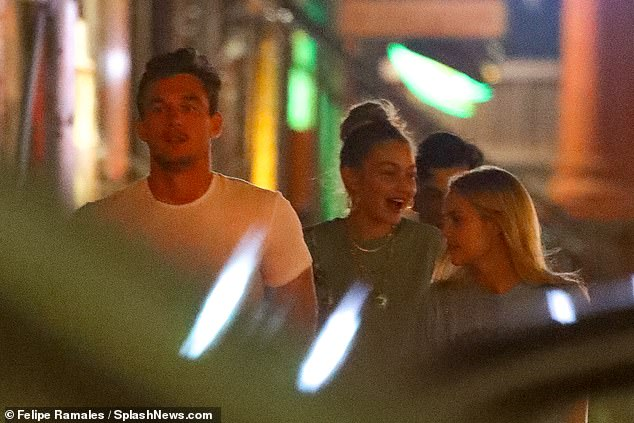 Having a ball: The daughter of former Real Housewife Of Beverly Hills Yolanda Hadid could be seen having a hearty laugh during her chat