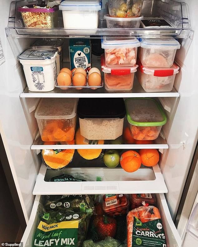 Kath has since made some lifestyle changing, including cutting artificial ingredients from her diet, as well as gluten and dairy (pictured: inside her fridge)