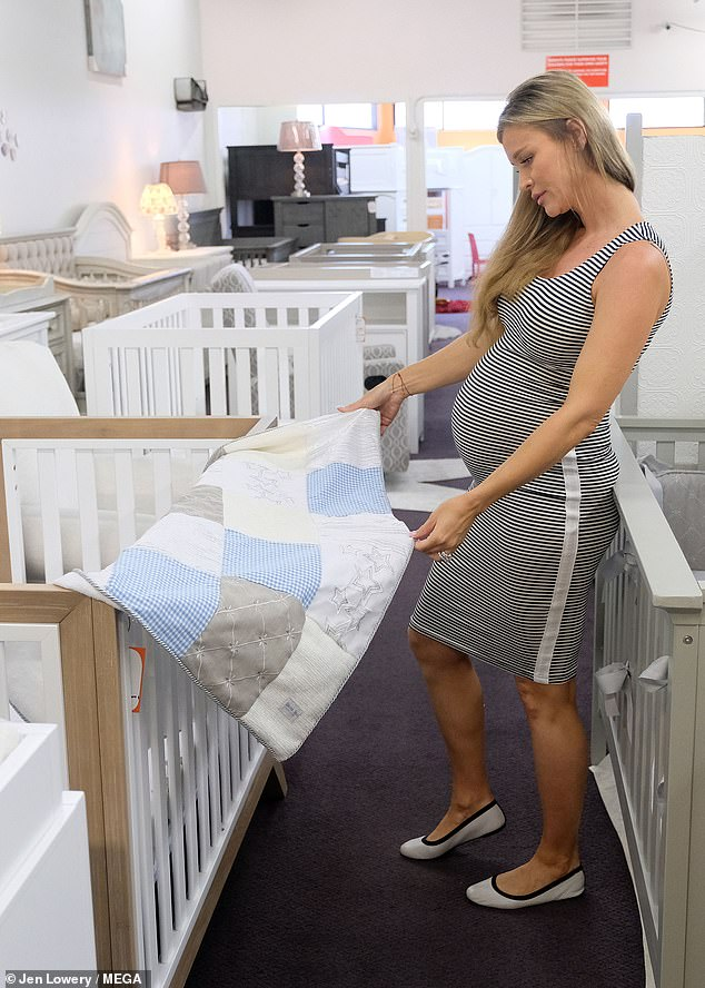 Preparation: Joanna was seen looking at baby blankets as she continued her shopping trip in LA