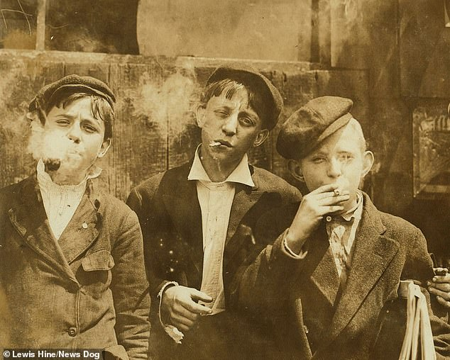 On May 10th 1910, Hine met three news boys in St Louis, Missouri, during his cross country trip for the National Child Labor Committee, assessing US children's role in the workforce. The newsboys hawked papers on dirty street corners and delivered door to door for pitiful wages