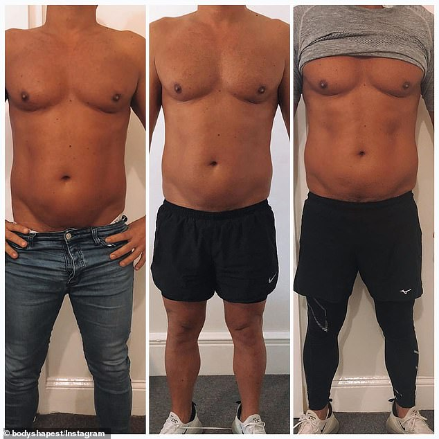 'Men are just getting a lot more in tune with wanting to stop ageing': This male client had fat cavitation to help make his abs more defined. (Pictured: Before and after the treatment)