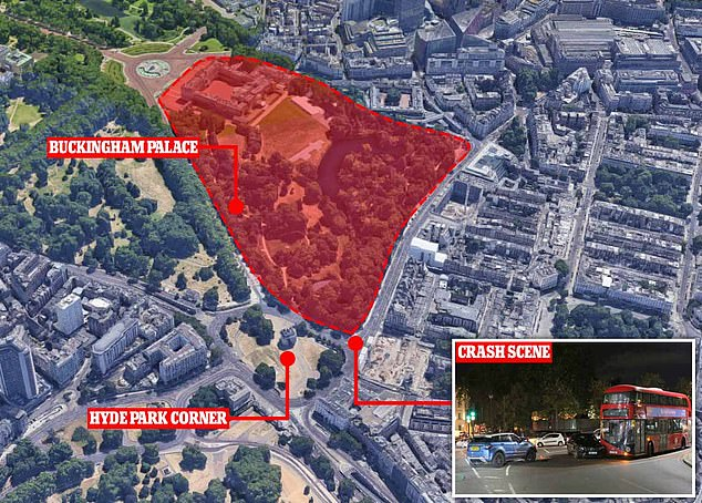 A map showing the location of the crash scene near the Hyde Park Corner and adjacent to the grounds of Buckingham Palace