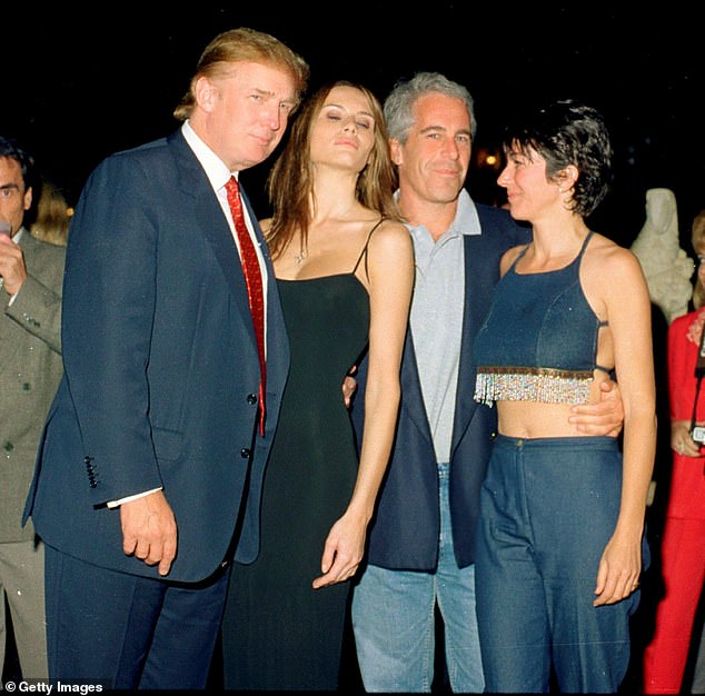 Maxwell and Epstein partyed with Donald Trump and Melania at Mar-A-Lago (2000 photo) and hosted sumptuous dinners at Epstein Town House in the Upper East Side, in the presence Woody Allen, Katie Couric, Chelsea Handler, David Blaine and Google co-founder Sergey Brin, among others