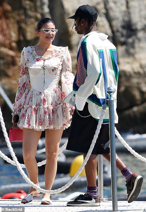 Fun in the sun: Kylie Jenner enjoyed another day in paradise as she and rapper boyfriend Travis Scott, 28, enjoyed a lavish lunch date at Hotel du Cap-Eden-Roc in Antibes on Wednesday afternoon