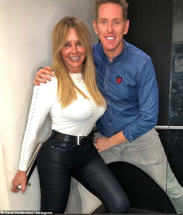Working it: The Countdown veteran proceeded to strike a series of poses to show off her hair (pictured with hairdresser James), seemingly oblivious the snaps would cause quite a stir