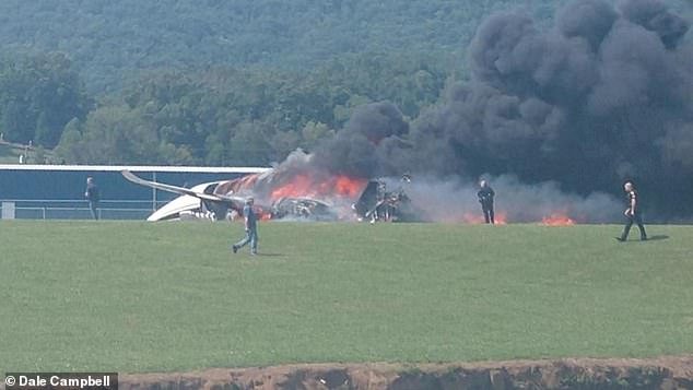 Pictures from the scene show the 10-seat, twin-engine Cessna Citation Latitude in a fiery wreck at the end of the small airport¿s runway